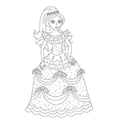 Beautiful princess in shining dress with spangles vector image