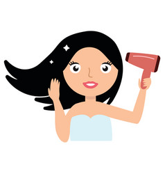Beautiful smiling young woman drying her hair with vector