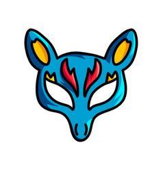 blue animal mask with yellow ears and red ornament vector image