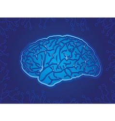 Blue Technology Brain vector