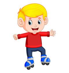 boy riding on roller skates vector image