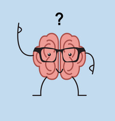 brain cartoon with questions vector image