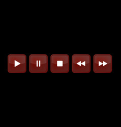 Brown white square music control buttons set vector