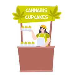 cannabis cupcakes stand composition vector image
