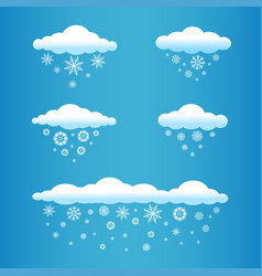 cartoon clouds with snow falls vector image