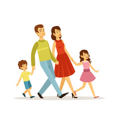 cartoon family mother father children walking vector image
