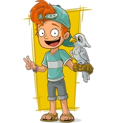 Cartoon redhead boy with cute parrot vector image
