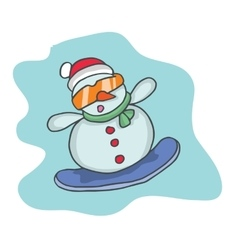 Cartoon snowman with glasses and hat vector image