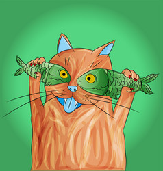 cat with fish on its eyes vector image