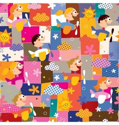 Children in airplanes collage pattern vector