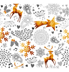 christmas vintage gold holiday background pattern vector image
