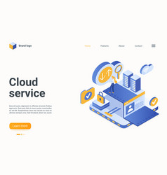 Cloud data service isometric landing page user vector