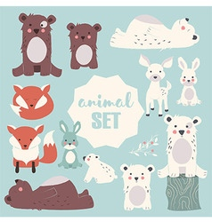 Collection of cute forest and polar animals vector