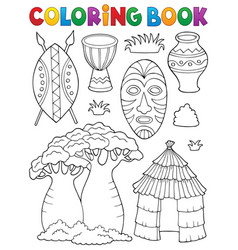 Coloring book african thematics set 1 vector