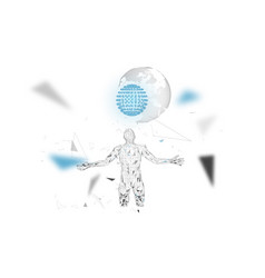 conceptual abstract man with world globe vector image