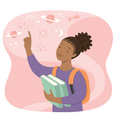 Curious black female student vector