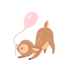 Cute baby deer with pink balloon adorable forest vector
