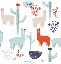 cute lama background south american ethnic vector image