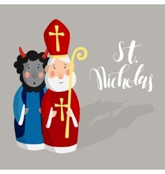 Cute Saint Nicholas with devil and lettering text vector