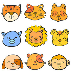 doodle of animal head vecry cute collection vector image