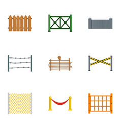 Fence icons set flat style vector