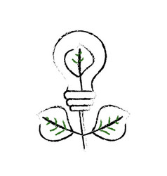 Figure energy bulb plant with leaves to ecology vector
