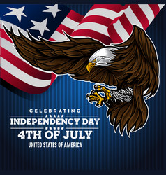 Flat background with eagle for usa independence vector