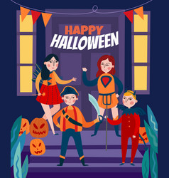 flat happy halloween poster vector image