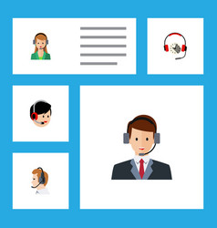 flat hotline set of operator secretary headphone vector image