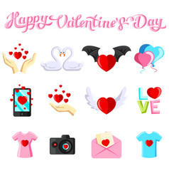 Flat with valentine s day images vector