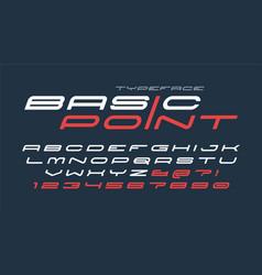Futuristic and techno display font design vector