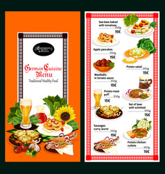 german cuisine restaurant menu template design vector image