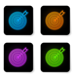 glowing neon target with arrow icon isolated on vector image