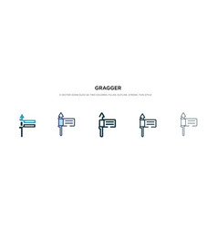 Gragger icon in different style two colored and vector