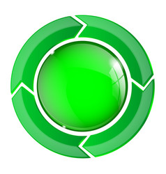 Green round glass button 3d web sign vector