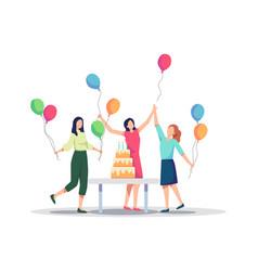 Group joyful people celebrating birthday party vector
