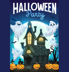 Halloween ghosts pumpkins and bats with house vector
