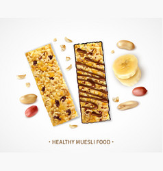 Healthy cereal bars background vector