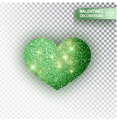 heart green glitter isolated on transparent vector image