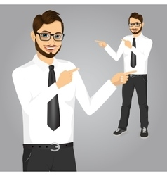 Hipster businessman pointing something vector