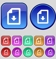 Import download file icon sign A set of twelve vector