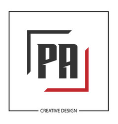 initial letter pa logo template design vector image