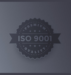 iso 9001 badge dark metallic version vector image