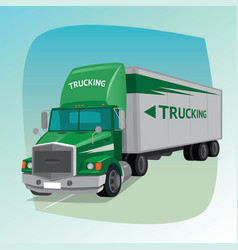 isolated truck with box semi-trailer vector image