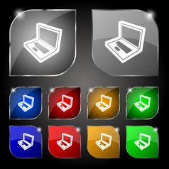 Laptop icon sign Set of ten colorful buttons with vector image