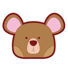 Line color cute bear head wild animal vector