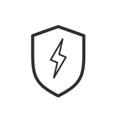linear lightning and shield symbol protect logo vector image