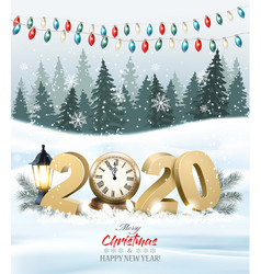 merry christmas background with 2020 and clock vector image