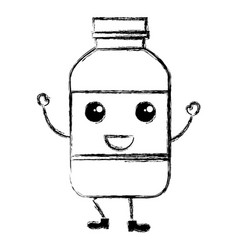 Milk bottle kawaii character vector
