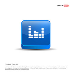 music sound wave icon - 3d blue button vector image